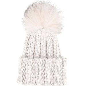 Cream rubbed white pom beanie hat